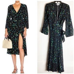 New GANNI Verdant Green Printed Crepe Wrap Dress